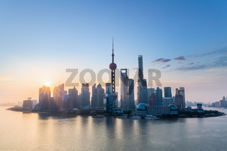 shanghai charm skyline in sunrise