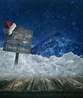 Christmas holiday background with sign post and Sa