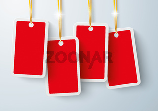 Four Red Price Stickers Golden Ribbons PiAd