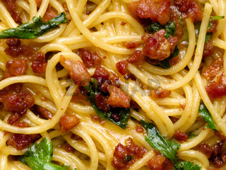 italian spaghetti carbonara food background
