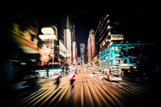 Modern city motion blur. Hong Kong