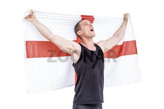 Athlete holding england national flag