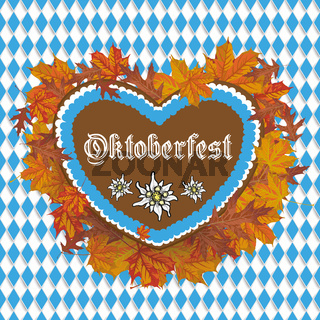 Oktoberfest Flyer Banner Gingerbread Heart Foliage