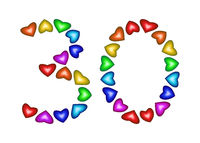 Number 30 made of multicolored hearts on white background