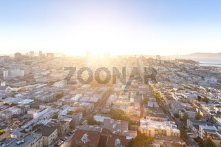 cityscape and skyline of san francisco at sunrise