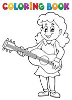 Coloring book girl guitar player theme 1 - picture illustration.