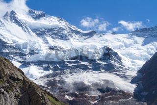 Ice, snow and rocks in the Himalayas