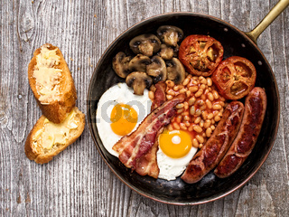 rustic full english breakfast