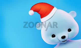 Polar  Christmas Bear card with clipping path