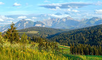 Summer mountain evening country panorama