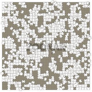 Quadratisches weisses unfertiges Puzzle mit fehlenden Teilen