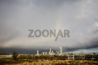 stormy rain clouds over charlotte north carolina skyline