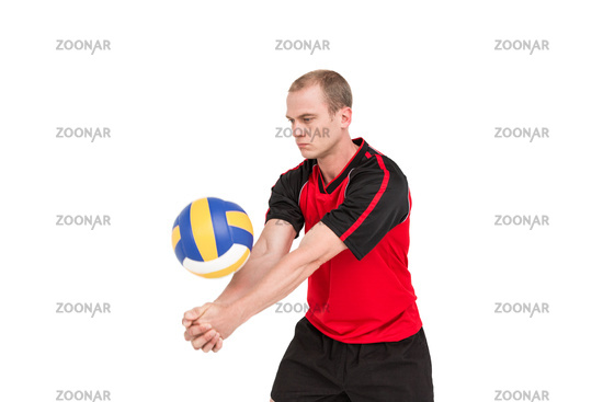 Sportsman playing a volleyball