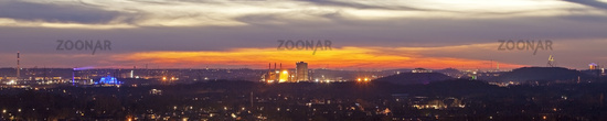 panoramic view at Bottrop in evening glow, Ruhr Area, North Rhine-Westphalia, Germany