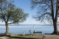 woman having a rest at Starnberg lake