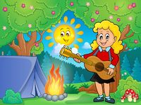 Girl guitar player in campsite theme 1 - picture illustration.