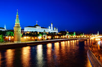 Moscow, night view of the Kremlin.