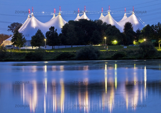 tent festival Ruhr nearby Kemnader reservoir in the evening, Bochum, Ruhr Area, Germany, Europe