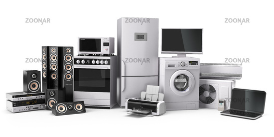 Home appliances. Gas cooker, tv cinema, refrigerator air conditioner microwave, laptop and washing machine.