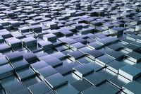 blue metallic cubes