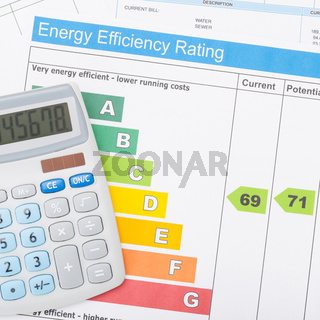 Calculator with utility bill and energy efficiency chart