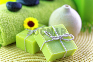 Spa treatment setting with green theme Spa treatment setting with green theme