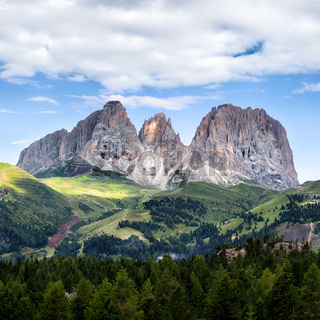 Panorama of Sassolungo mountain peaks