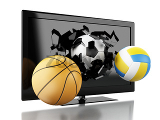 3d Sport balls breaking Tv screen.