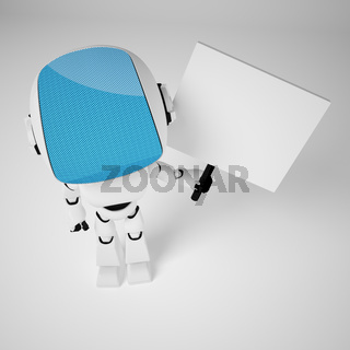 Robot with empty board on white background.