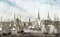 Sailing ships at the Hamburg harbor, 19th century