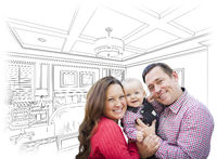 Young Family With Baby Over Bedroom Drawing