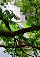 Statue near China palace in garden, Oranienbaum – Lomonosov,