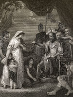 Alfred the Great, 847-899, King of the West Saxons, liberating the family of Hastings