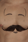 male torso with moustache and beard