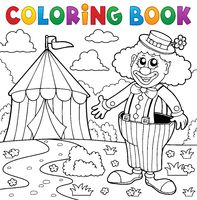 Coloring book clown near circus theme 5 - picture illustration.