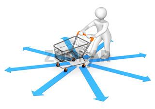 Manikin Shopping Cart Arrows