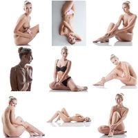 Skincare. Photo set of sensual blonde posing naked