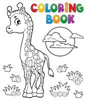 Coloring book young giraffe theme 2 - picture illustration.