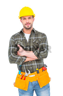 Manual worker with tool belt