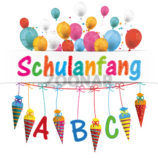 Candy Cones Banner Balloons Schulanfang