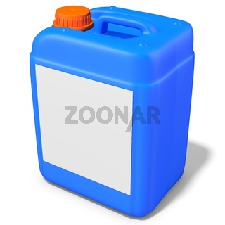 3d blue plastic canister, container