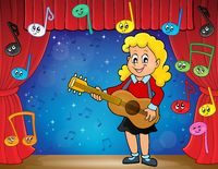 Girl guitar player on stage theme 2 - picture illustration.