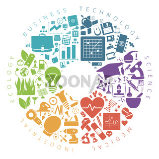Business, technology and science icons infographics