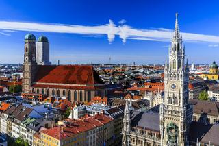 Munich Frauenkirche and New Town Hall Munich, Bavaria, Germany