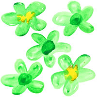 Green watercolor flowers
