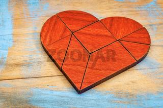 red wood heart tangram