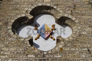 Wappen an einer Hausfassade, Friedrichstadt