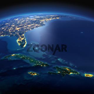 Detailed Earth. Caribbean islands. Cuba, Haiti, Jamaical on a moonlit night