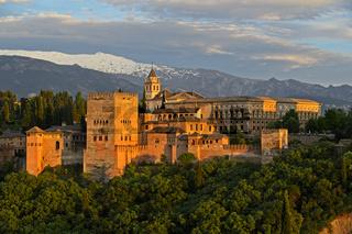 Abends an der Alhambra, Granada, Andalusien, Spanien