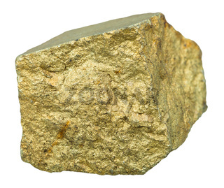 Brass-yellow Chalcopyrite mineral stone isolated